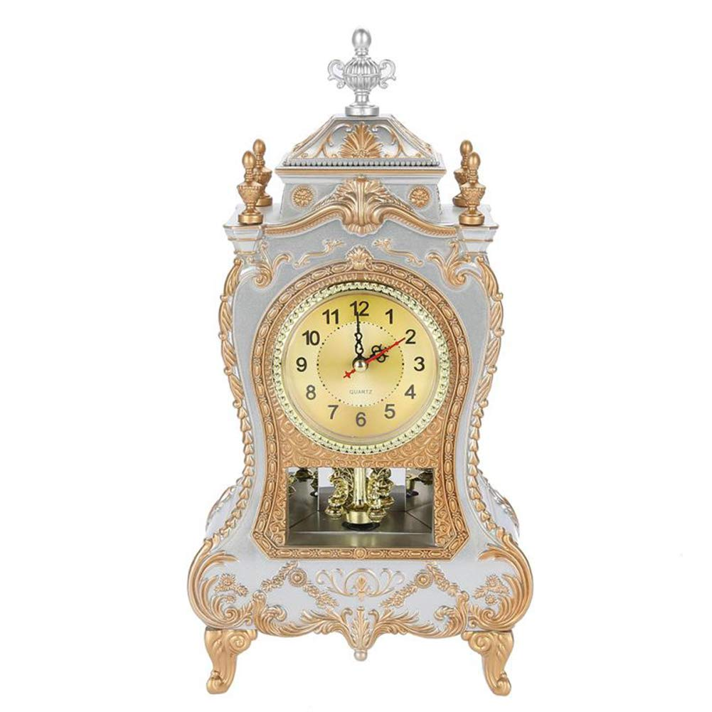 Vintage Alarm Clock Desk Classic Clock TV Cabinet Room Imperial Desk Cabinet Creative Decoration Sit Pendulum Clock,White