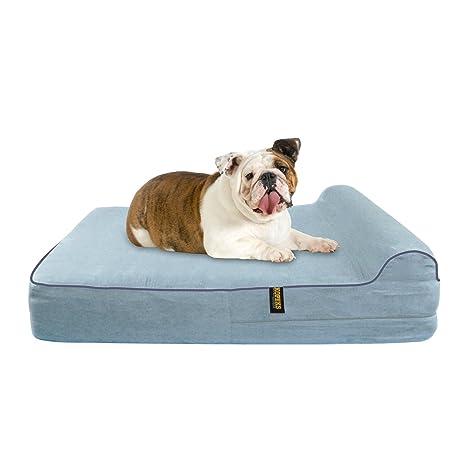 KOPEKS Cama Grande para Perros Mascotas Grandes con Memoria Viscoelástica Ortopédico 91 x 71 x 15 cm más la Almohada - L - Gris