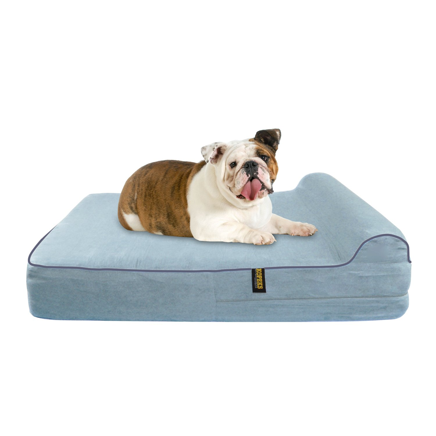 Large 5.5'' Orthopedic Memory Foam Dog Bed With 2.5'' Pillow - Includes Waterproof Inner Protector & Removable Cover - Grey