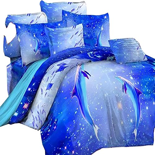 - 3D Oil Painting Blue Ocean Dolphin Bedding Sets 4PC ,(1PC Duvet Cover,1PC Bed Sheet,2PC PillowCase ),100% Cotton 3D Dolphin Duvet Cover Sets