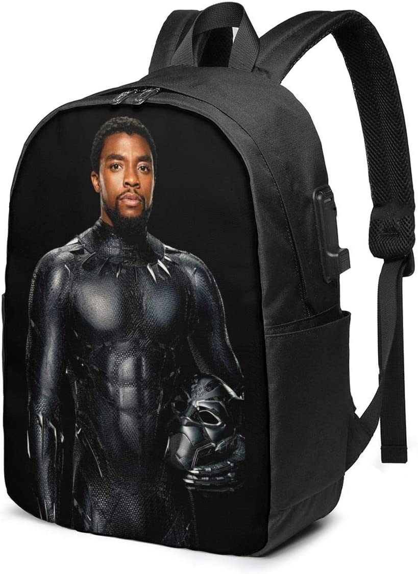 asdasd Chadwick Boseman Black Pan-Ther Men's Travel Laptop Backpack,Large Capacity for 15.6 Inch Laptop with USB Charging Port