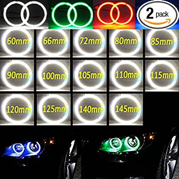 2x White// Red //Blue 60mm 70mm 80mm 90mm 100mm Car Angel Eyes Halo Rings light