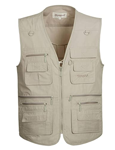 Flygo Men s Summer Outdoor Work Safari Travel Fishing Vest with 16 Pockets Khaki