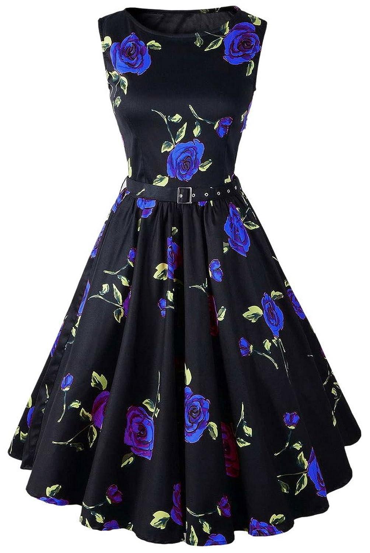 Aivtalk Damen Audrey Hepburn Stil 50er Retro Vintage Kleid Rockabilly Swing Abendkleid - Rose Blumen Schwarz