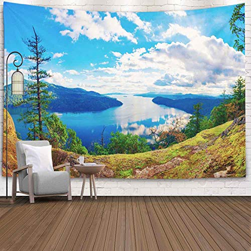 Bisead Wall Art Tapestry for Bedroom,Map Art Tapestry 80X60 Inchs Panoramic View Maple Bay Islands Pacific Ocean Taken Vancouver Island Canada Tapestry Wall Hangings,Tapestry Wall Decor