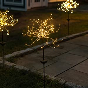 Solar LED Firework Garden Stake Light - Outdoor Decorative Light, Flexible LED Branches, for Pathway, Garden, Outdoor Living Area - 120 LEDs, Over 3 Feet Tall