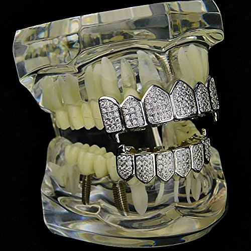 Premium Fang Grillz Set CZ Cubic Zirconia Bling Silver Tone Top & Bottom Teeth Vampire Hip Hop Grills by Bling Cartel (Image #2)