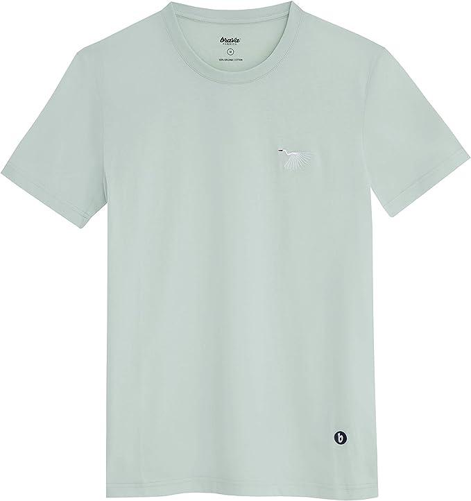 Brava Fabrics - Camiseta Hombre - Camiseta para Hombre - 100% Algodón Orgánico - Modelo Japanese Sky: Amazon.es: Ropa y accesorios