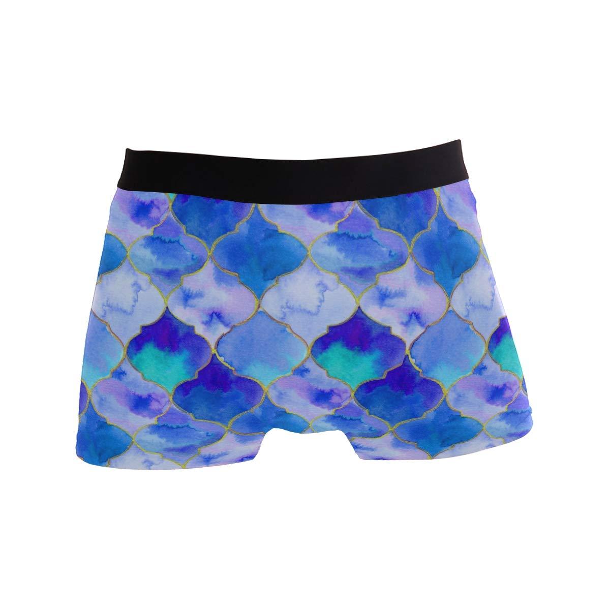 MOFEIYUE Mens Boxer Briefs Trellis Quatrefoil Geometric Soft Short Underpants Underwear for Men Boys