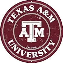 Texas A & M 12 Inch Embossed Metal Nostalgia Circular Sign