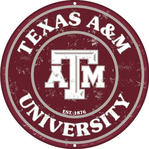 Texas A & M 12 Inch Embossed Metal Nostalgia Circular Sign ()