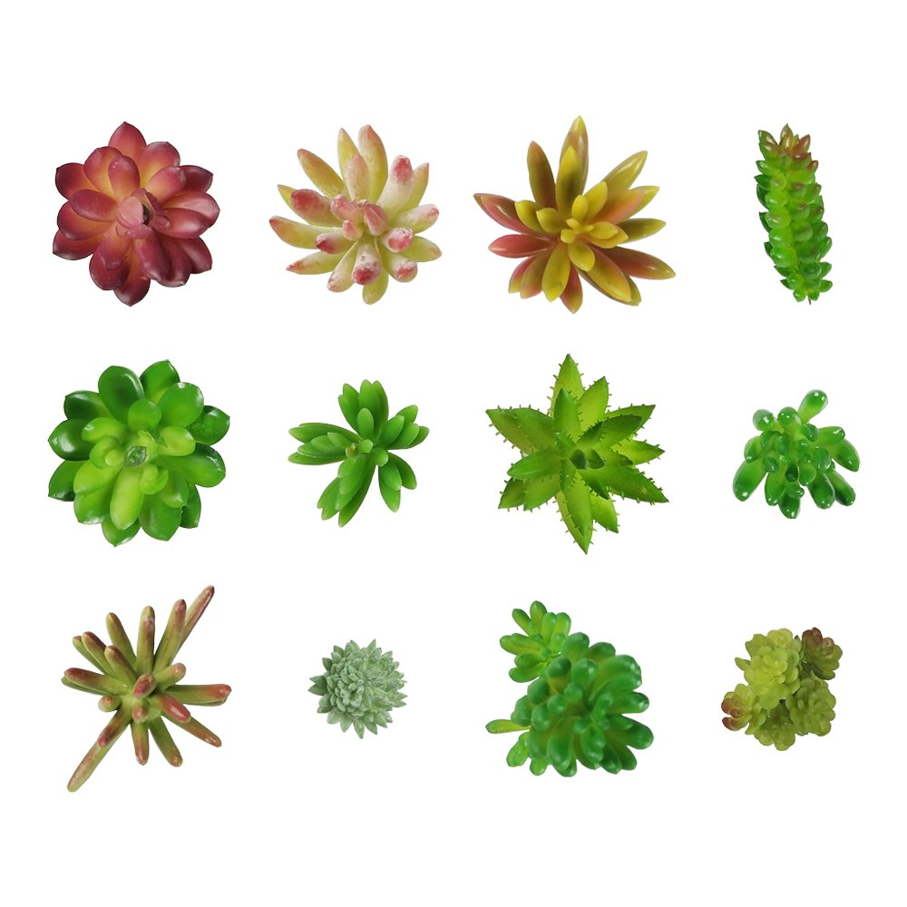 LEAFBABY 12 PCS Mixed Artificial Succulent Plants Unpotted Fake Succulents for DIY Home and Garden Decoraction