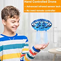 BOMPOW Flying Toys Drones for Kids Mini Drones Hand Controlled Flying Ball Drone Toys with 2 Speed and LED Light for Kids, Boys and Girls Toys (Blue)