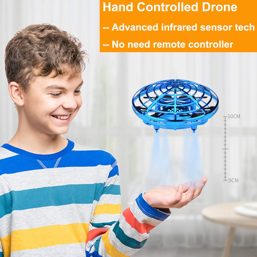 Flying Toys Drones for Kids Mini Drones Hand Controlled Flying Ball Drone Toys with 2 Speed and LED Light for Kids, Boys and Girls Toys (Blue) by BOMPOW