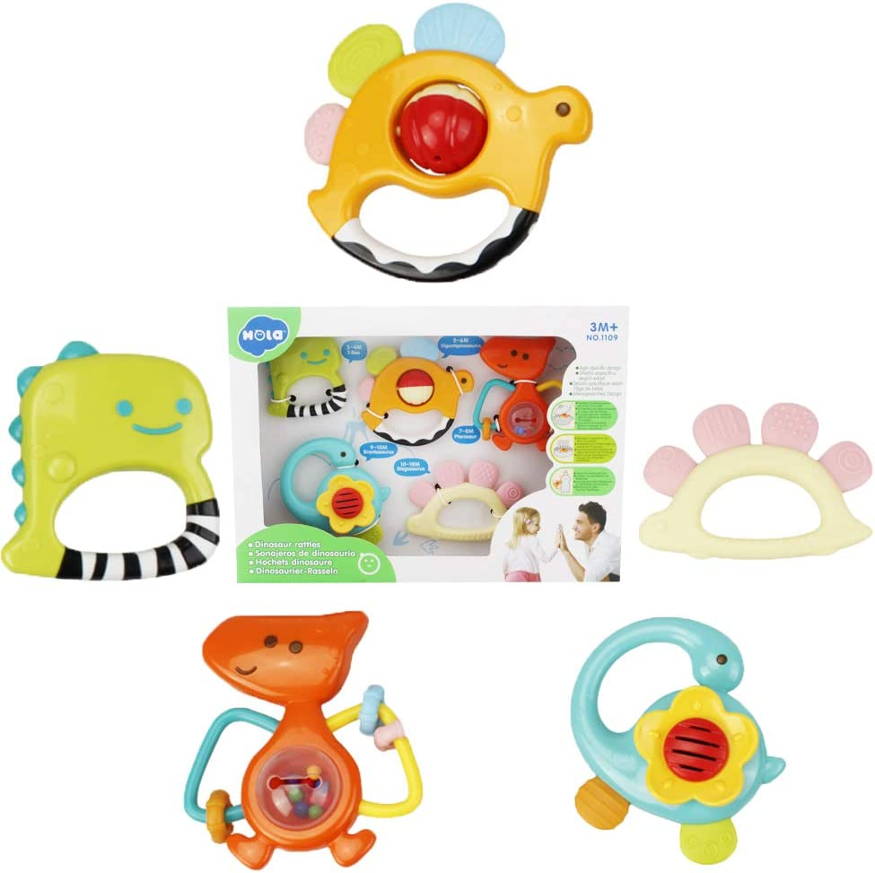 WISHTIME Rattle Teether Set Baby Toy 9pcs Rattle Teether Newborn Toys with Giant