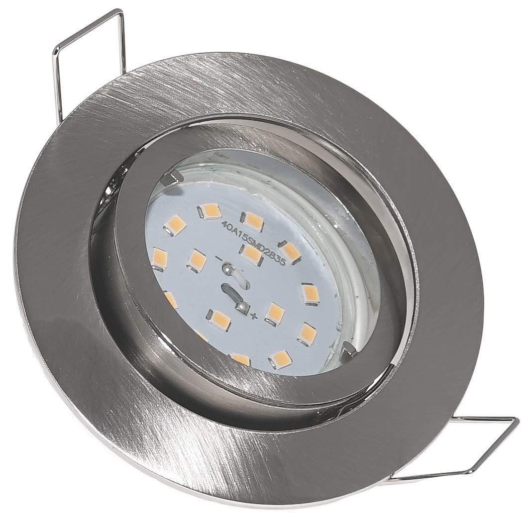 4er Set FLACHE Einbaurahmen Spot   LED Einbauleuchte Lino   230V   5W   400 Lumen LochausschnittØ=63-75mm   Aussendurchmesser=83mm   Einbautiefe=30mm   Farbe=edelstahl geb.   Licht=LED-Warmweiß