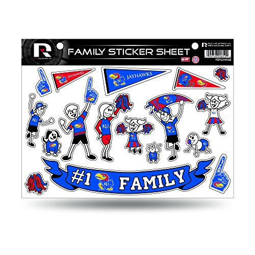 NCAA Kansas Jayhawks Spirit Family Window Decals (Jayhawks Sticker Bumper Kansas)