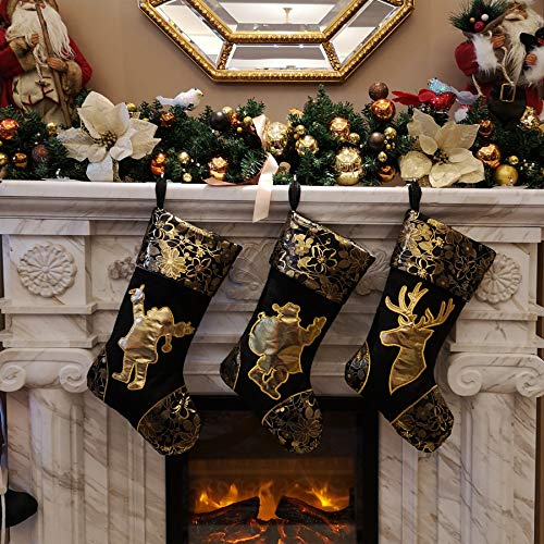 - WEWILL 18'' Luxury Gold Christmas Stockings Shiny Bag for Kids, Family, Set of 3,Santa, Snowman, Reindeer