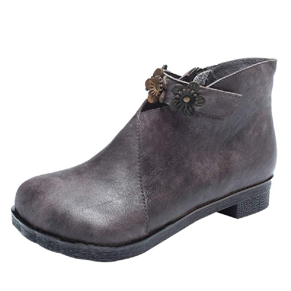 ZHRUI Flower Stiefel Damen Leder Flach Zipper Knöchel Komfort Vintage Schuhe (Farbe   Grau, Größe   EU 37)