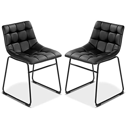 Marvelous Costway Set Of 2 Dining Side Chairs Modern Pu Leather Armless Comfortable Padded Seat Back Bistro Pub Dining Kitchen Chairs With Metal Legs Black Caraccident5 Cool Chair Designs And Ideas Caraccident5Info
