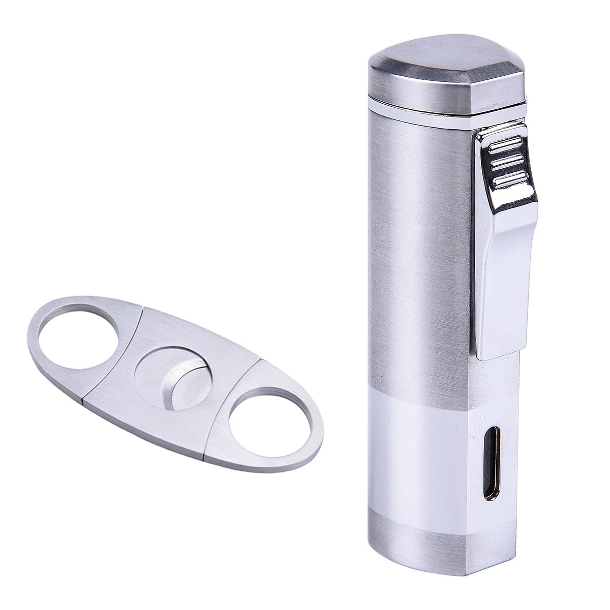 Gift Set Triple Jet Flame Torch Cigarette Cigar Torch Lighter with Cigar cutter, Silver