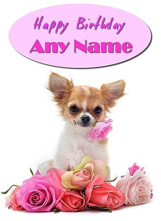 Chihuahua Dog Personalised Happy Birthday Card Amazon Office