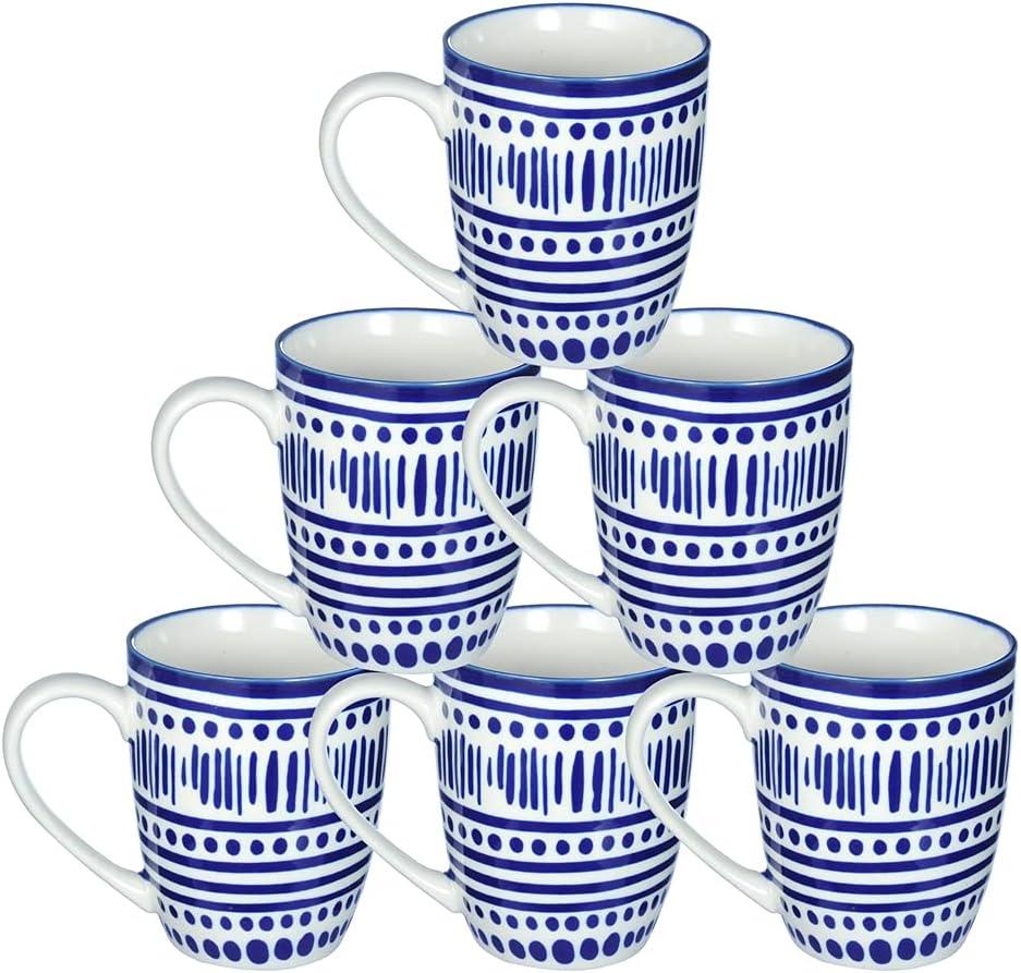 Erya Porcelain Coffee Mugs Cups 14oz, Navy Blue Speckle - Set of 6