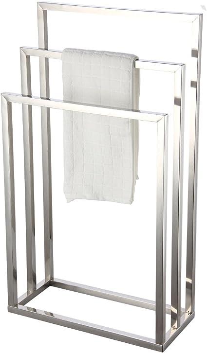 Towel Rack Stand Chrome Bathroom Storage Floor Holder Metal Free Standing Bath