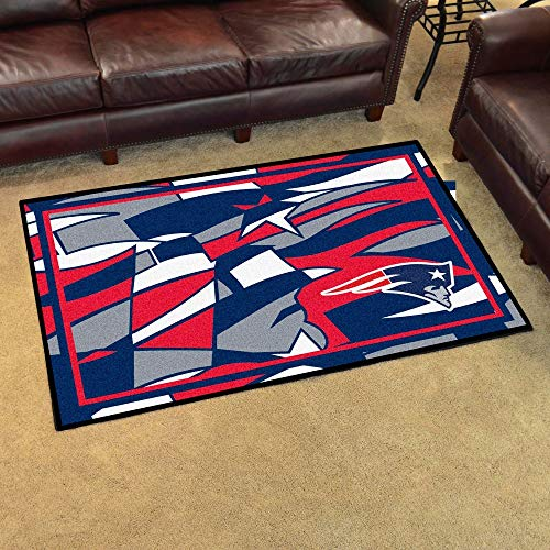 4'x6' NFL New England Patriots Rug Sports Football Area Rug Team Logo Printed Large Mat Floor Carpet Bedroom Living Room Lounge Home Decor Athletic Game Fans Gift Nonslip Backing Plush Soft Nylon ()