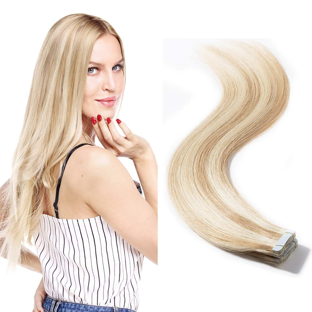 40 Pieces Tape in Hair Extensions 100g Remy Human Hair Balayage Color Double Side Tape Seamless Skin Weft Rooted Tape on Human Hair Extensions (16 inch 40pcs,#18/613 Light Ash Brown mix Bleach Blonde) by MY-LADY
