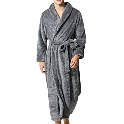 Pandapang Mens Soft Warm Homewear Fleece Flannel Robe Sleepwear Bathrobe