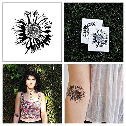 Tattify Flower Temporary Tattoo - Sunflower (Set of 2) - Other Styles Available - Fashionable Temporary Tattoos - Long Lasting and Waterproof