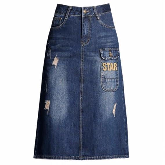 QPSSP Jeans Cintura Falda con Cintura Alta Cintura Falda Larga ...