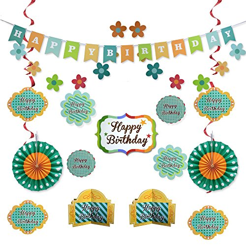 Green Happy Birthday Party Decorations - Supplies Set for Boy & Girl Kids - Adult Women & Men - Includes Happy Birthday Banner with White Letters, Garlands, Paper Fans, Centerpieces, Wall Cutouts -