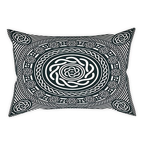 24w Spiral - iPrint Cotton Linen Throw Pillow Cushion Cover,Celtic,Ethnic Irish Circular Design with Clockwise Twisty Spiral Lines Insular Art,Royal Blue White,Decorative Square Accent Pillow Case