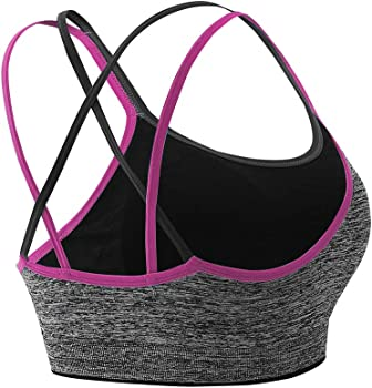 NanaDay Womens 3-Pack Sports Bras Medium Support Workout Yoga Bra with Removable Padded