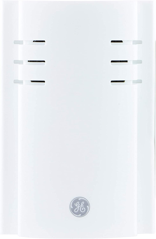 GE Door Chime, Wireless Extender, Plug, 150 Ft Range, Replacement Doorbell Receiver, Adjustable Volume, 2 Melody, White, 35572
