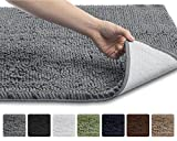 """The Original GORILLA GRIP Slip-Resistant Shag Chenille Bathroom Rug Mat, 3 Sizes and 6 Colors, Extra Soft and Absorbent, Machine-Washable, Perfect for Bath, Tub, and Shower (Gray, 30"""" x 20"""")"""