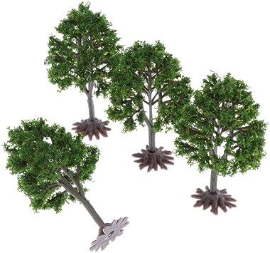 Hellery Miniatura Árbol de Bosque de Plástico de Modelo Árboles Decorar para Fiesta en Parque de Jardín - 4 Piezas: Amazon.es: Juguetes y juegos