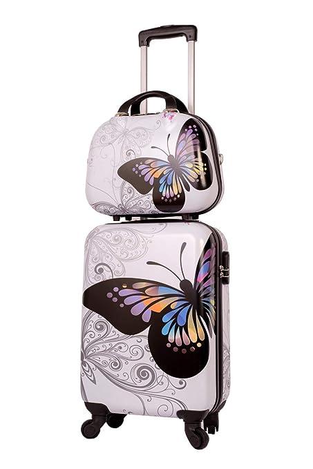 Maleta Cabina con Neceser Mariposa Blanca, Maleta 55x35x20 cm y Neceser 35x28x14 cm