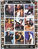 Stamps for collectors - Movie imperforfate stamp sheet featuring Die Hard / Bridget Jone's Diary / Pulp Fiction / Matrix / Jackie Brown