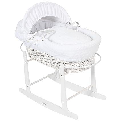Lujo británico hizo cesta de mimbre blanca de moses con malvavisco blanco grueso / cubiertas de