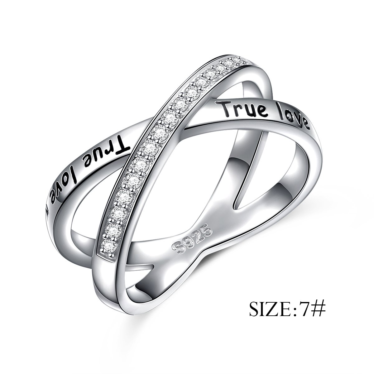 S925 Sterling Silver True Love Waits Infinity Criss Cross Rings for Women Lady, Size 7 by Silver Light Jewelry (Image #3)