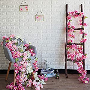 Hukidoy Artificial Cherry Blossom Garland Hanging Vine Fake Flowers Silk Garland Home Wedding Party Decor (Pack of 2) 4