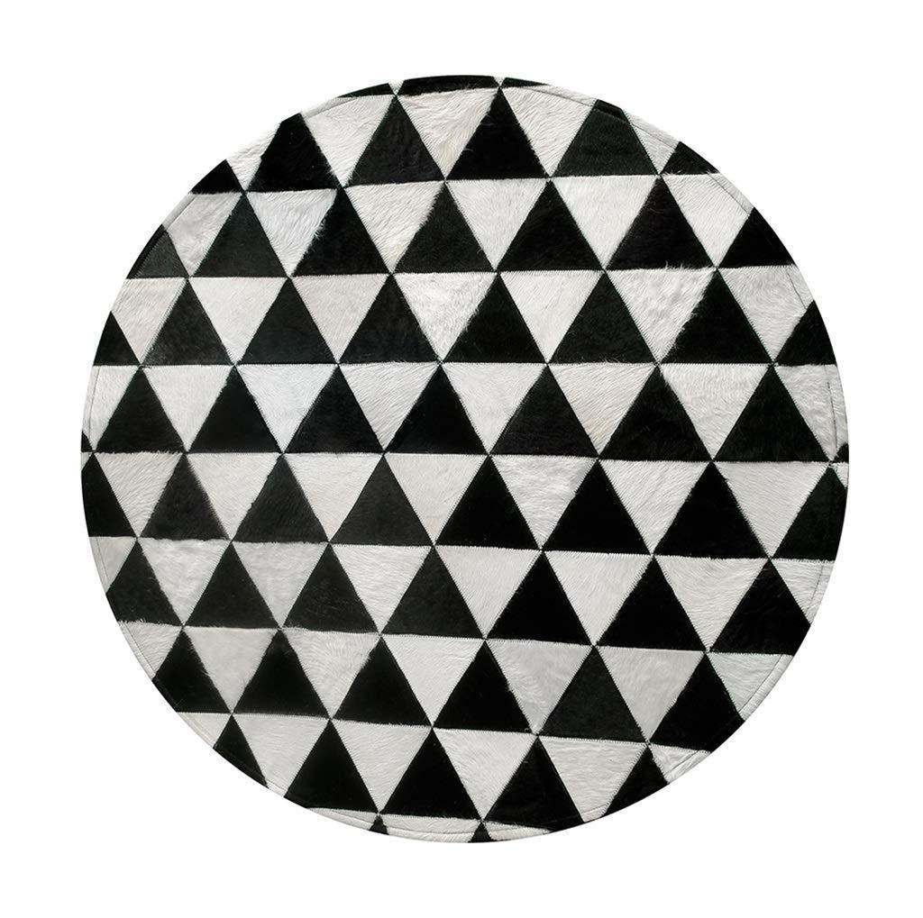 ラウンド牛革敷物デザイナーエリアラグ用リビングルーム寝室のソファコーヒーテーブルフットパッドハンドステッチpu滑り止めボトムマットホームデコレーションカーペット直径160センチ (サイズ さいず : Diameter180cm) Diameter180cm  B07QQNV729