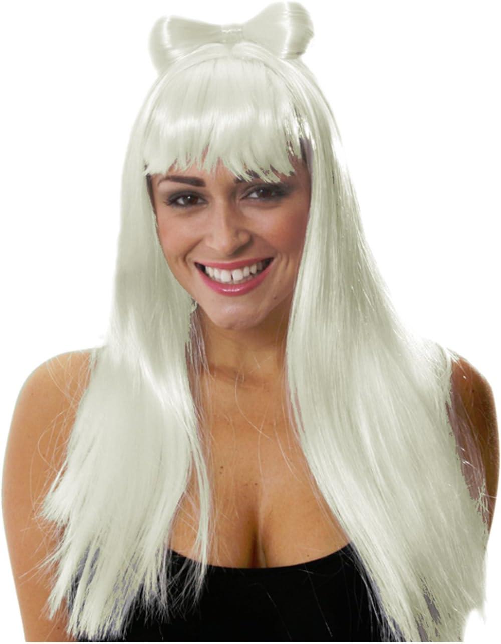 gaga peluca con pelo lazo Star peluca de pelo largo peluca Lady: Amazon.es: Salud y cuidado personal