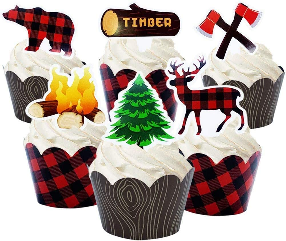packingmaster 24 Pack Woodland Camping Lumberjack Deer Baby Bear Tree Campfire Axe Cupcake Toppers and Plaid Wood Grain Double Sided Cupcake Wrappers for Woodland Camping Lumberjack Party Supplies
