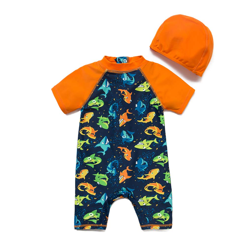 Colorful Fish,3-6Months Sun Protection One Pieces with Zipper Swimwear with Sun Hat Baby Boys Sunsuit UPF 50