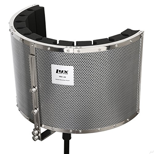 LyxPro VRI-20 Portable Sound Absorbing Acoustic Foam Isolation Microphone Shield, Vocal Recording Panel, High Performance - Stand Mountable