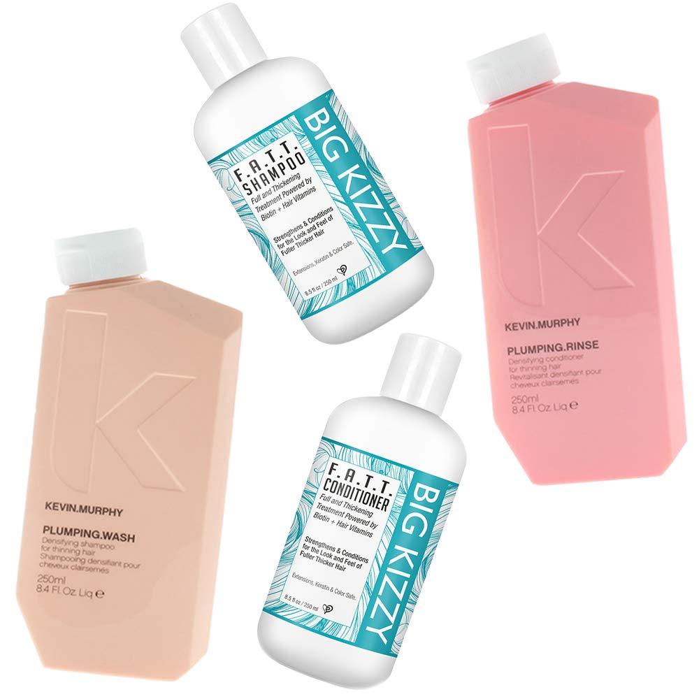 Kevin Murphy Plumping Wash & Rinse Set 8.4 oz + Big Kizzy Biotin Shampoo & Conditioner Duo 8.5 oz